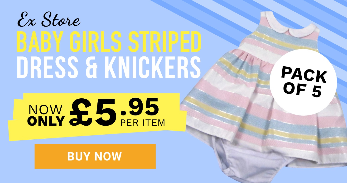 Girls striped dress and knickers